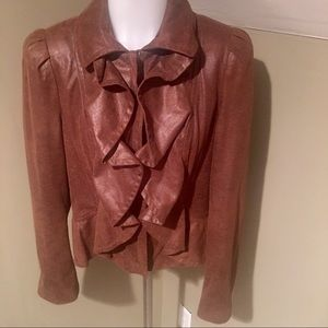 I.N.C Brown Ruffle Front Faux Leather Jacket SZ MP